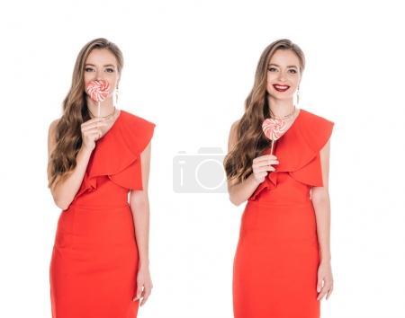 gorgeous women with heart shaped lollipops