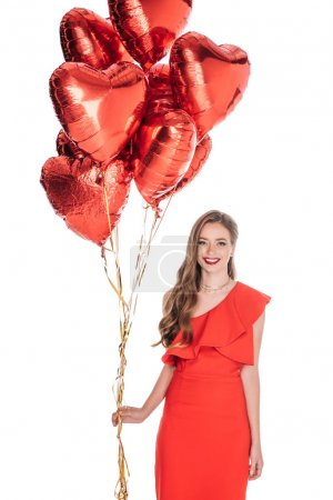 gorgeous woman with heart shaped balloons