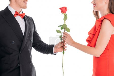 man presenting rose to woman