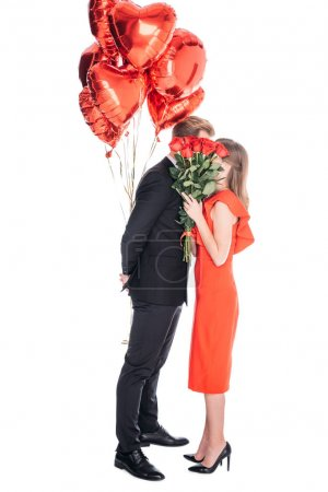 couple with roses and balloons