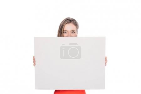 young woman with blank banner
