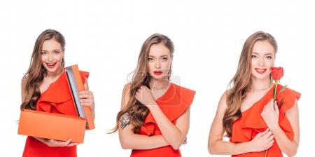 elegant women with gift and rose