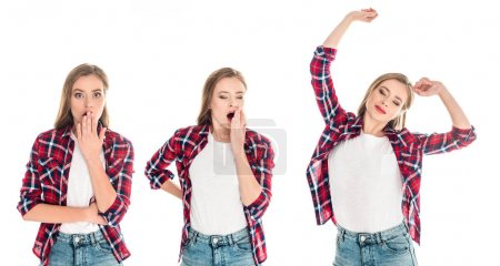 Photo for Young women in checkered shirts standing with various facial expressions isolated on white - Royalty Free Image
