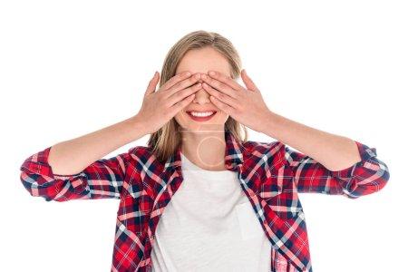 young woman closing eyes