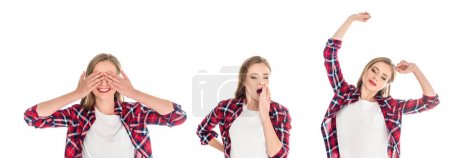Photo for Young women in checkered shirts posing with various facial expressions isolated on white - Royalty Free Image
