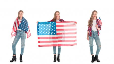 young women with american flags