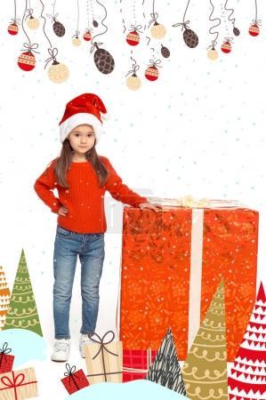 child with big christmas present