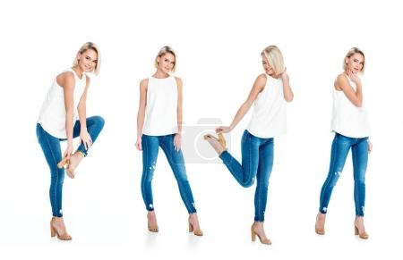 Photo for Collage with beautiful blonde girl posing in jeans and heels, isolated on white - Royalty Free Image
