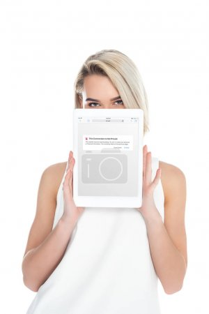 woman presenting digital tablet with app, isolated on white