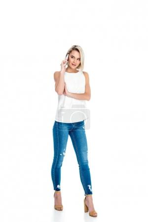beautiful woman talking on smartphone, isolated on white