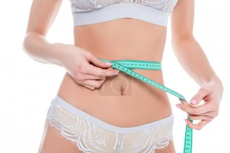 cropped view of woman measuring her perfect slim body, isolated on white