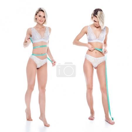 Foto de Collage con chica en ropa interior medir su cuerpo delgado, aislado en blanco - Imagen libre de derechos