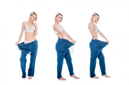 Photo for Collage with shocked slim girl in old jeans old jeans after losing weight, isolated on white - Royalty Free Image