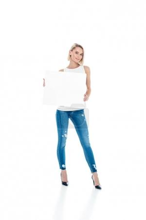 pretty blonde girl with blank placard, isolated on white