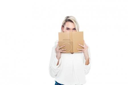 beautiful blonde female student with book, isolated on white