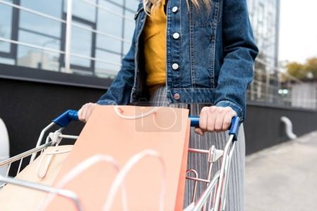 cropped shot of woman on shopping with cart outdoors