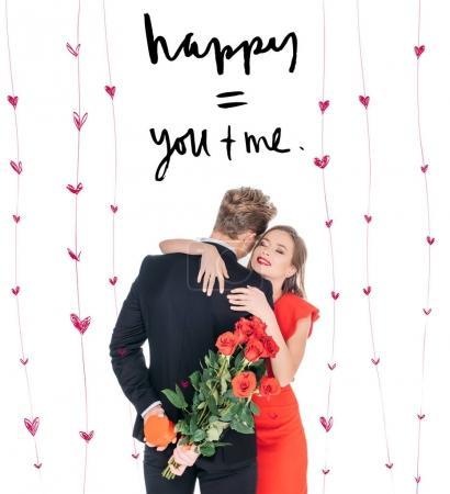 Photo pour Homme présentant des roses et boîte cadeau en forme de coeur pour la belle copine de st que Valentin isolé sur blanc - image libre de droit