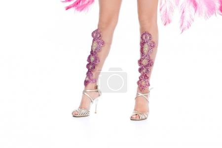 cropped view of girl posing in heels with pink gems, isolated on white