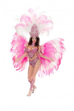 seductive woman dancing in carnival costume with pink feathers, isolated on white