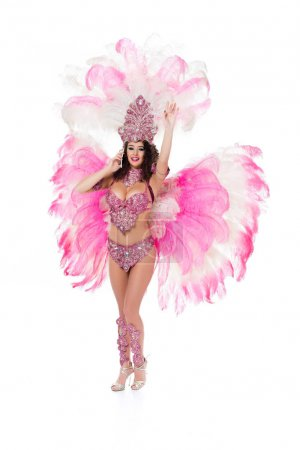 woman in carnival costume using smartphone with one hand raised, isolated on white