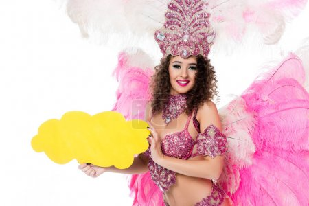 woman in carnival costume holding yellow empty text balloon, isolated on white