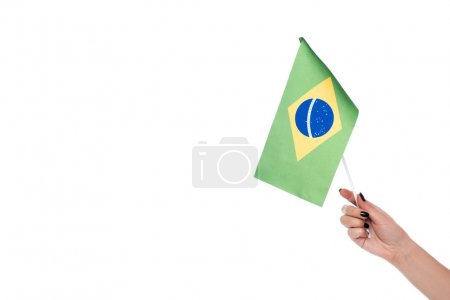 Cropped image of hand holding brazilian flag, isolated on white