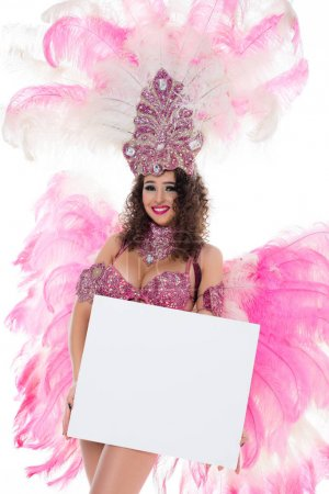 caucasian woman in carnival costume holding blank banner, isolated on white