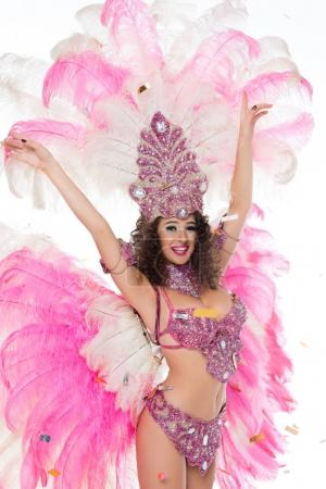 Happy woman in carnival costume, isolated on white