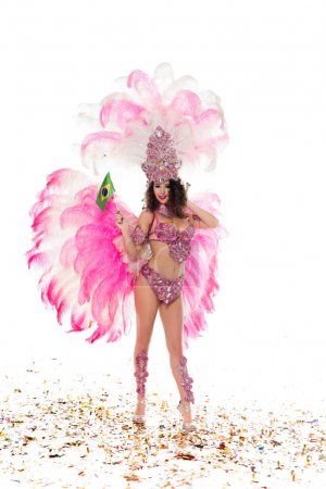 Bright woman in carnival costume with pink feathers golds flag of Brasil isolated on white