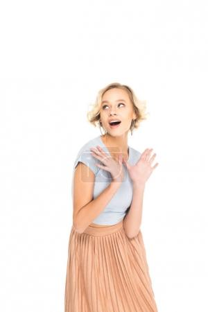 surprised beautiful blonde girl looking away isolated on white