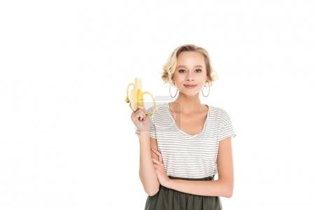 portrait of young smiling woman with fresh banana isolated on white