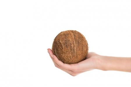 partial view of woman holding coconut in hand isolated on white
