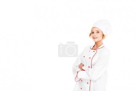 Photo pour Portrait souriant chef féminin avec les bras croisés regardant caméra isolé sur blanc - image libre de droit