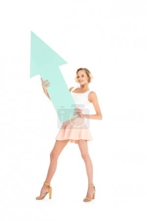 smiling young woman with arrow in hands isolated on white