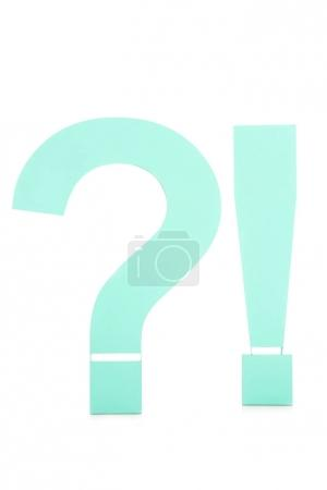 close up view of question and exclamation marks isolated on white