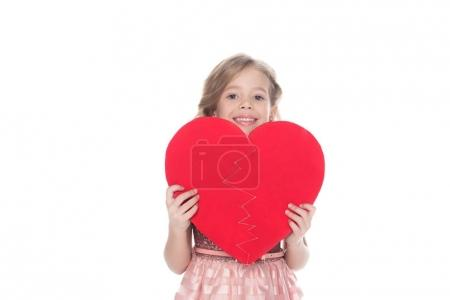 beautiful kid holding heart sign, isolated on white