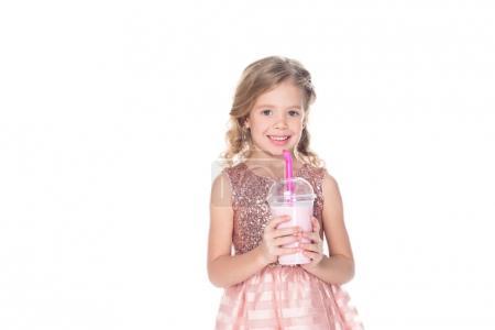 adorable smiling kid with milkshake, isolated on white