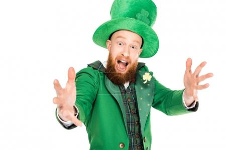 handsome leprechaun in green suit and hat, isolated on white