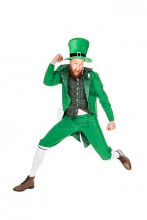 leprechaun jumping in green suit, isolated on white