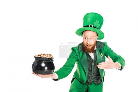 leprechaun in green suit presenting pot of gold, isolated on white