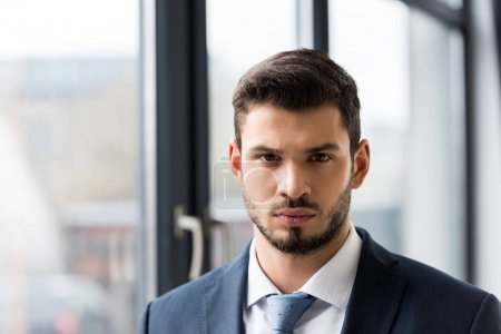 portrait of handsome young businessman in formal wear looking at camera