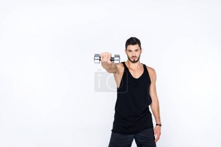 Photo for Sportive man working out with dumbbell isolated on white - Royalty Free Image