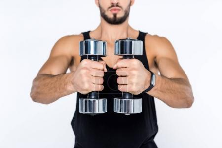 cropped shot of man working out with dumbbells isolated on white