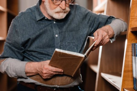 cropped image of grey hair librarian reading book