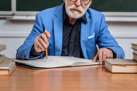 cropped image of thoughtful senior lecturer sitting at table with pencil and notebook