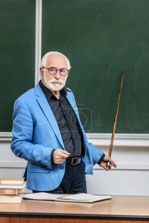 grey hair professor pointing on something at blackboard with wooden pointer