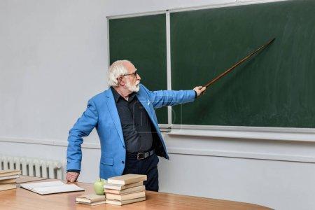 grey hair professor pointing on something at blackboard