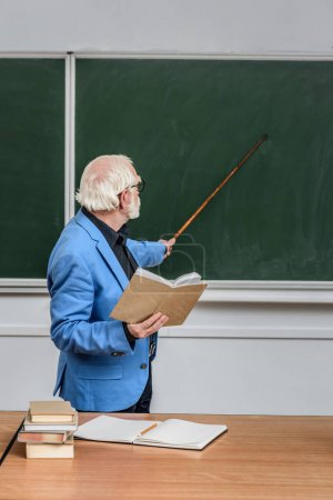 grey hair professor holding book and pointing on something at blackboard