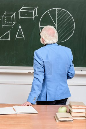 rear view of grey hair professor looking at blackboard
