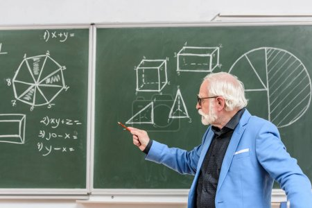 grey hair professor pointing on something with pencil on blackboard